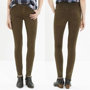 Madewell Olive Sateen Mid-Rise Skinny Jeans Sz 28